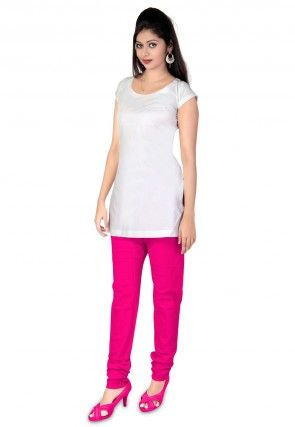 Plain Cotton Churidar in Fuchsia