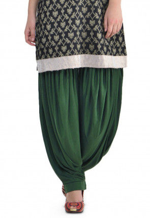 Plain Cotton Lycra Patiala Salwar in Dark Green