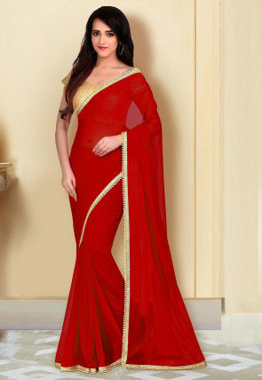 Beaded Border Georgette Saree in Red