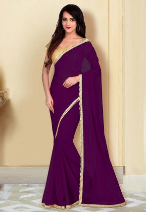 Beaded Border Georgette Saree in Wine