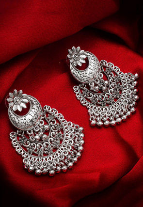 Beaded Chandbali Oxidised Earrings