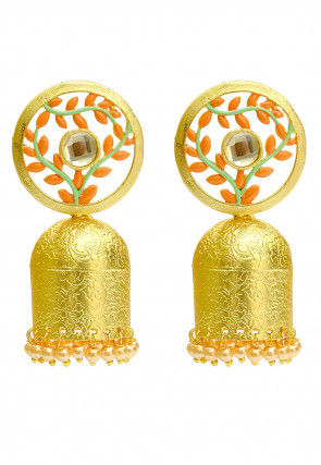 Beaded Enamel Filled Jhumka Style Earrings