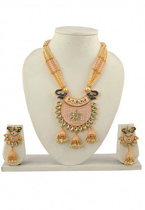 Beaded Enamel Filled Necklace Set