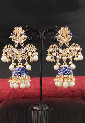 Beaded Jhumka Style Enamel Filled Earrings