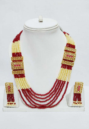Beaded Layered Long Necklace Set