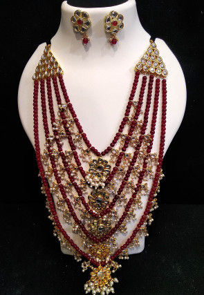 Beaded Long Layered Necklace Set