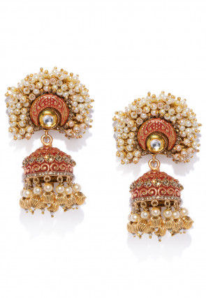 Beaded Mint Meena Jhumka Style Earrings