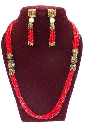 Beaded Long Necklace Set