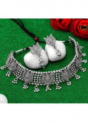 Beaded Oxidised Lotus Motifs  Necklace Set