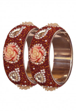 Beaded Pair of Lac Bangles