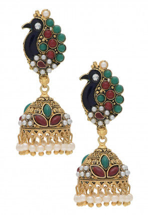 Beaded Peacock Style Jhumka Earrings