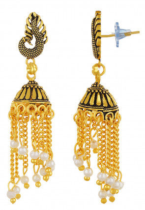 Beaded Peacock Jhumka Style Earring
