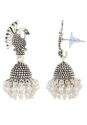 Beaded Peacock Jhumka Style Earring