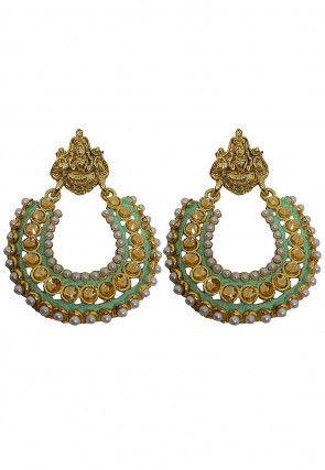 Beaded Temple Enamelled Chandbali Earrings