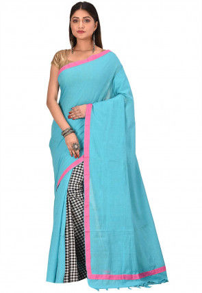 Bengal Handloom Cotton Saree in Light Blue and White