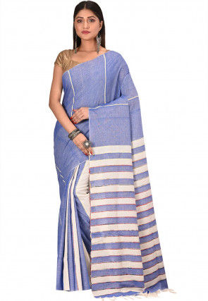 Bengal Handloom Cotton Saree in Light Blue