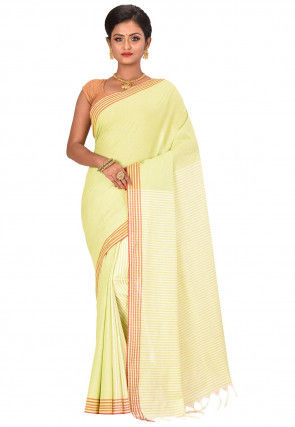 Bengal Handloom Cotton Saree in Light Green