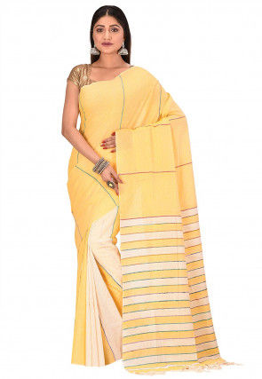 Bengal Handloom Cotton Saree in Light Yellow