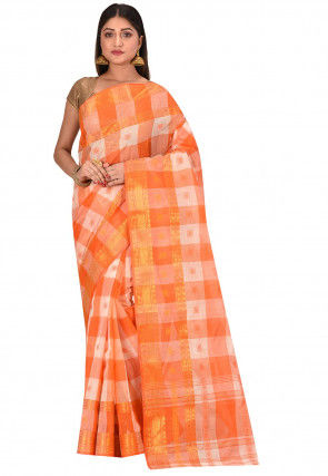 Bengal Handloom Cotton Tant Saree in Orange