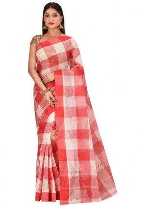 Bengal Handloom Cotton Tant Saree in Red and White
