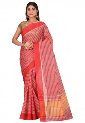 Bengal Handloom Cotton Tant Saree in Red