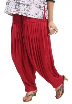 Poly Viscose Patiala In Red