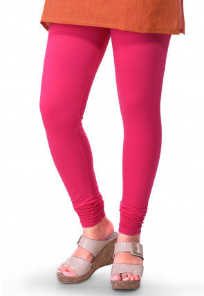 Solid Color Cotton Lycra Leggings in Fuchsia