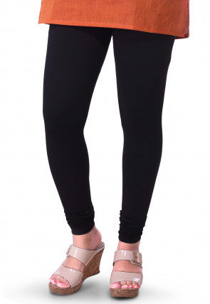 Solid Color Cotton Lycra Leggings in Black