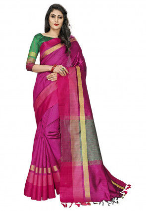 Bhagalpuri Silk Saree in Magenta