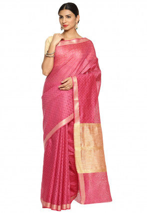 Bhagalpuri Silk Saree in Pink