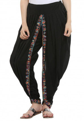 Aari Embroidered Cotton Dhoti Pant in Black