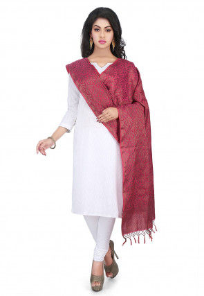 Woven Banarasi Cotton Silk Jacquard Dupatta in Wine