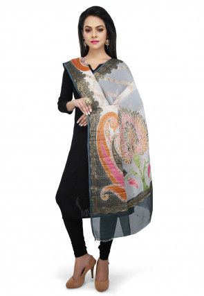Handloom Pure Georgette Dupatta in Off White and Grey