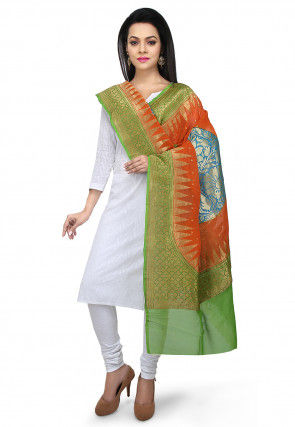 Handloom Pure Georgette Dupatta in Orange and Green