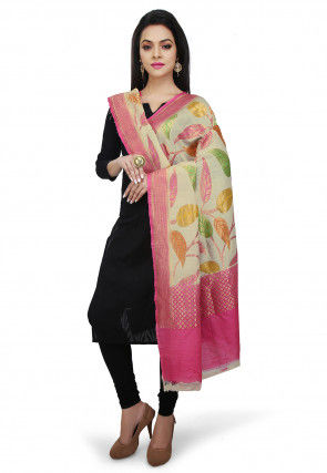 Handloom Pure Muga Silk Dupatta in Light Beige and Pink