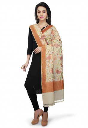 Handloom Pure Muga Silk Dupatta in Light Beige