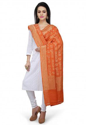 Handloom Pure Muga Silk Dupatta in Orange