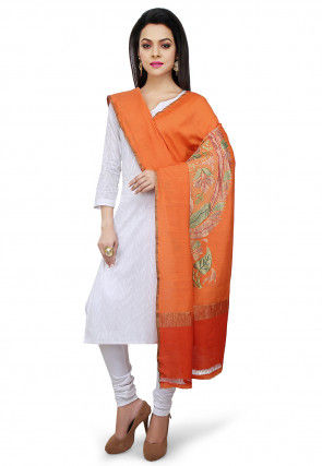 Handloom Pure Muga Silk Dupatta in Orange