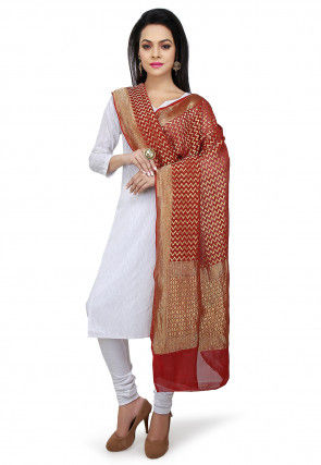 Handloom Pure Georgette Dupatta in Maroon