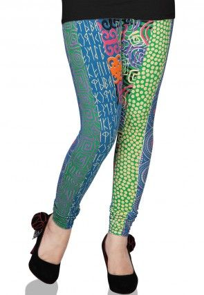 Printed Lycra Cotton Legging in Multicolor