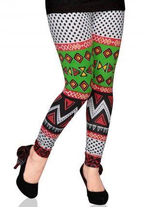 Printed Cotton Lycra Legging in Multicolor