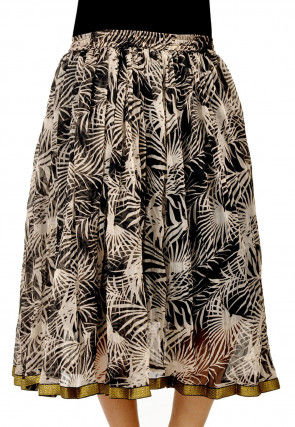 Printed Chiffon Skirt in Off White and Black