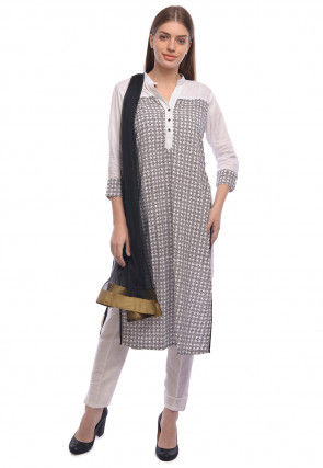 Block Print Rayon Straight Suit in White