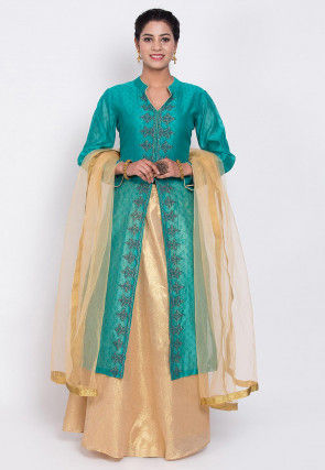 Block Printed Chanderi Silk Lehenga in Teal Green
