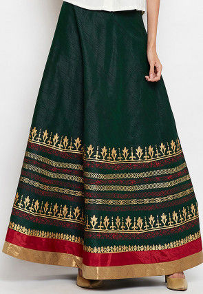 Block Printed Art Dupion Silk Skirt in Green