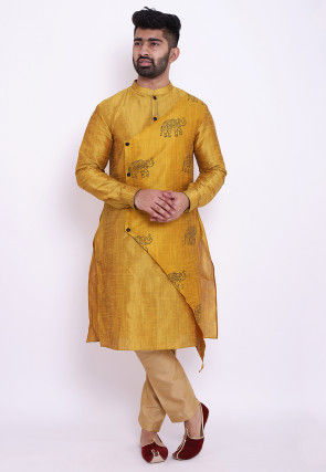 Block Printed Art Silk Asymmetric Kurta in Mustard