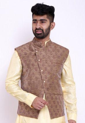 Block Printed Art Silk Asymmetric Nehru Jacket in Dark Beige