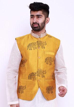 Block Printed Art Silk Nehru Jacket in Mustard