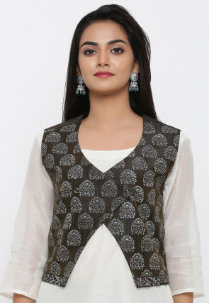 Block Printed Art Silk Overlapping Jacket in Black