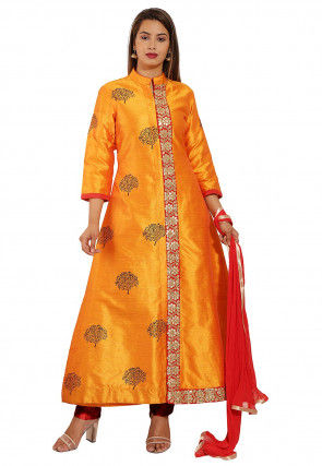 Block Printed Art Silk Pakistani Suit in Mustard